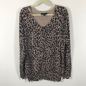 LANE BRYANT LEOPARD BUTTON DOWN SWEATER SIZE 26/28